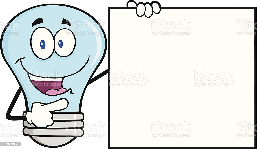 Blue Light Bulb Showing A Blank Sign royalty-free stock vector art