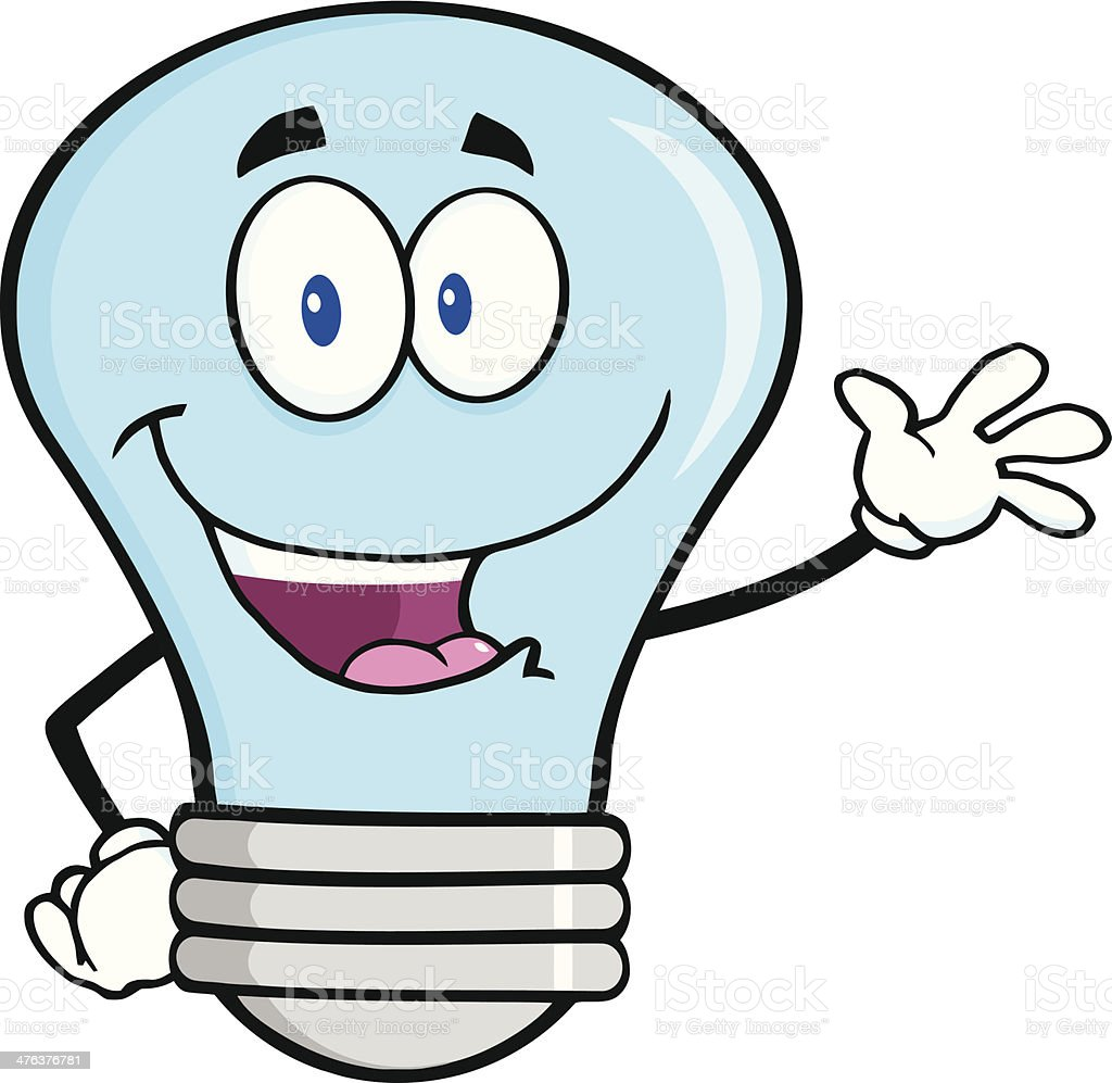 Blue Light Bulb Waving For Greeting royalty-free stock vector art
