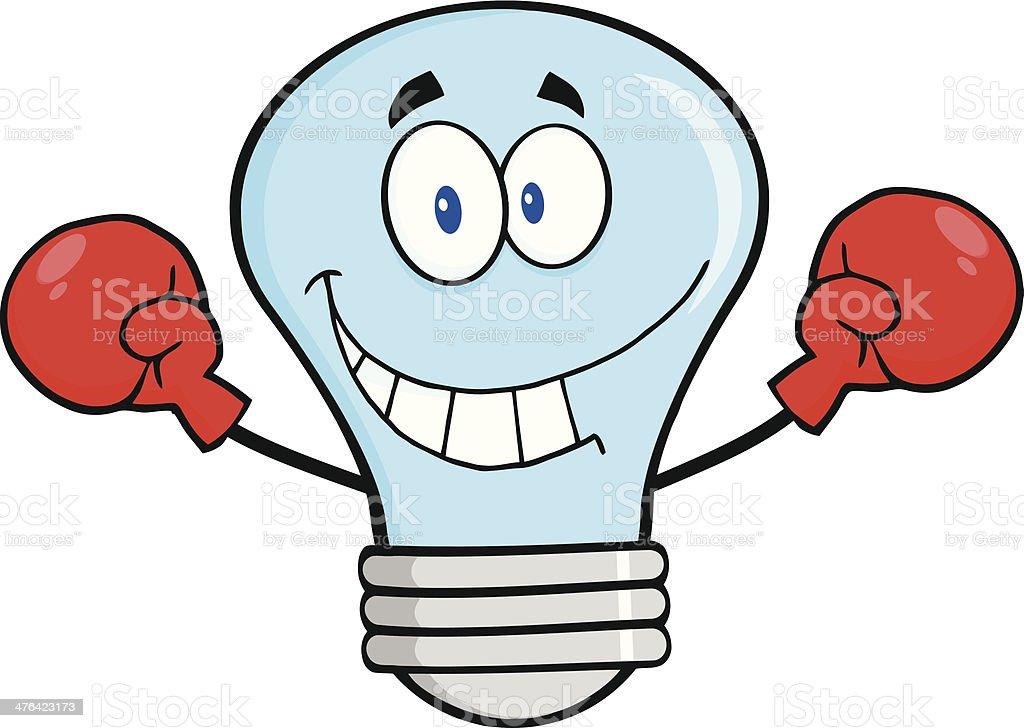 Blue Light Bulb Wearing Boxing Gloves royalty-free stock vector art