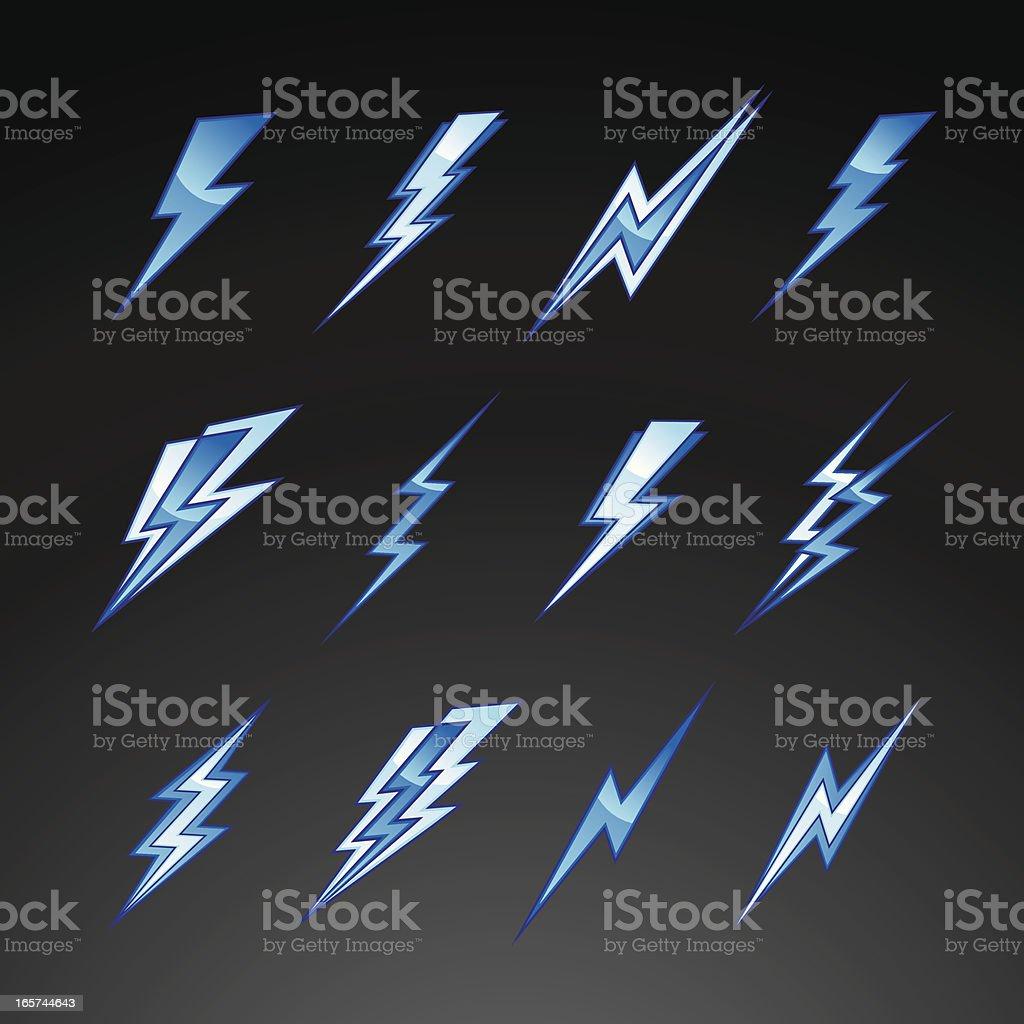 Blue Lightning Bolts vector art illustration