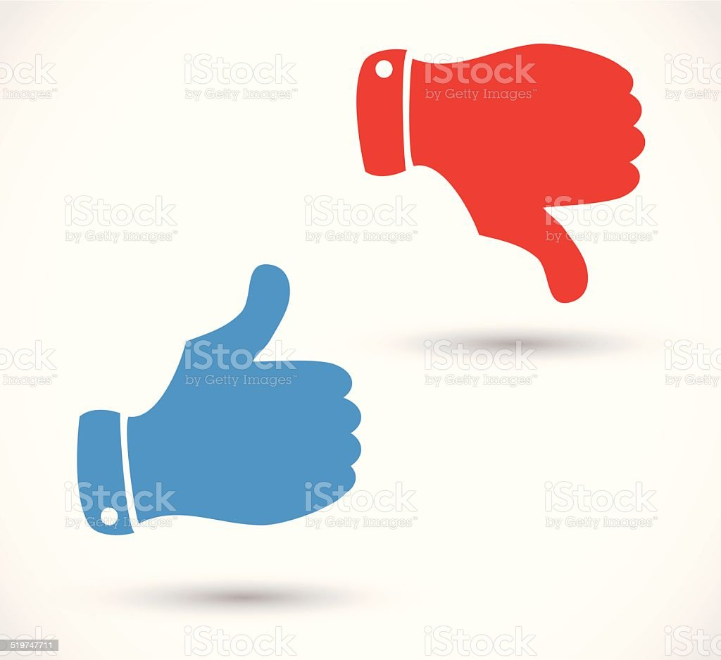 Blue like icon and red dislike icon with thumbs vector vector art illustration