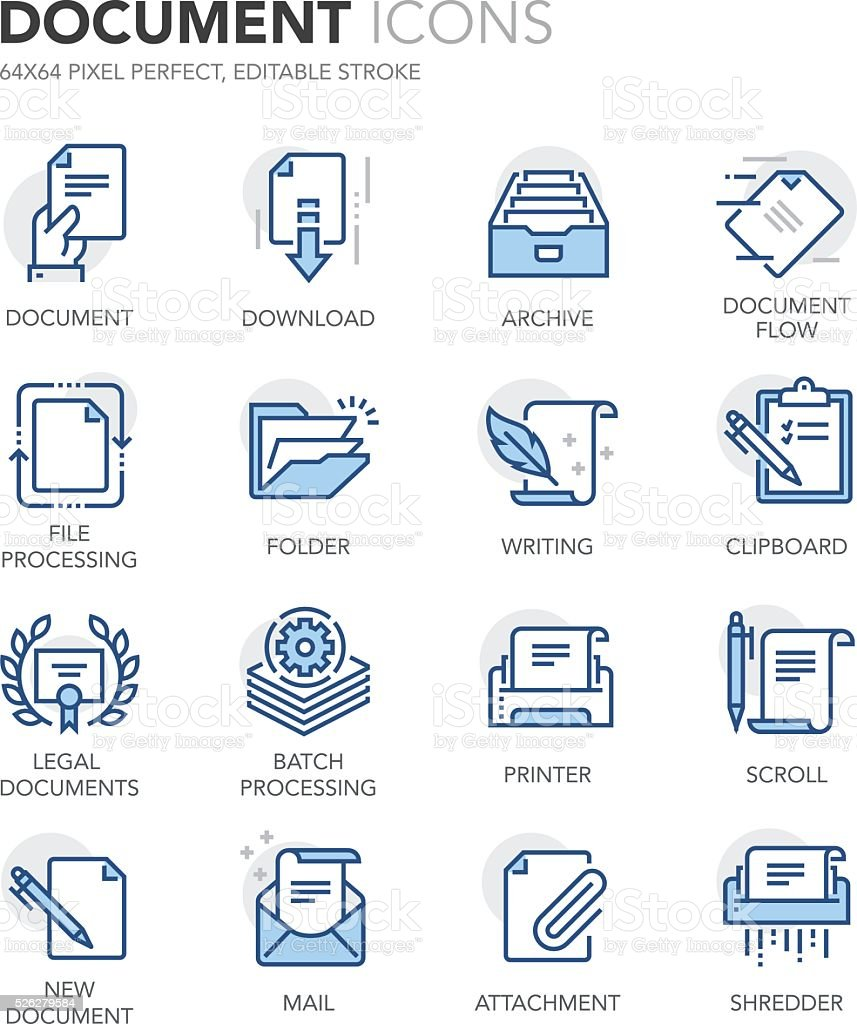 Blue Line Documents Icons vector art illustration