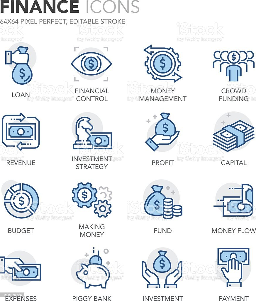 Blue Line Finance Icons vector art illustration