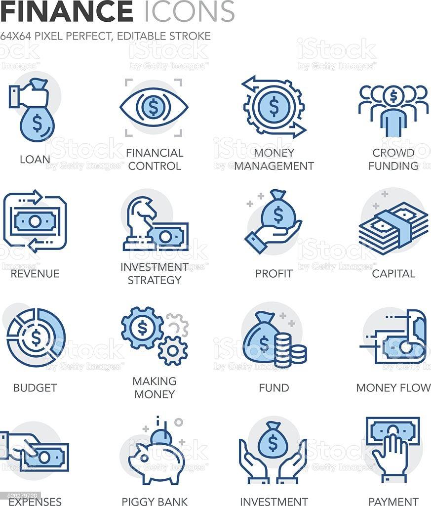 Blue Line Finance Icons vector art illustration