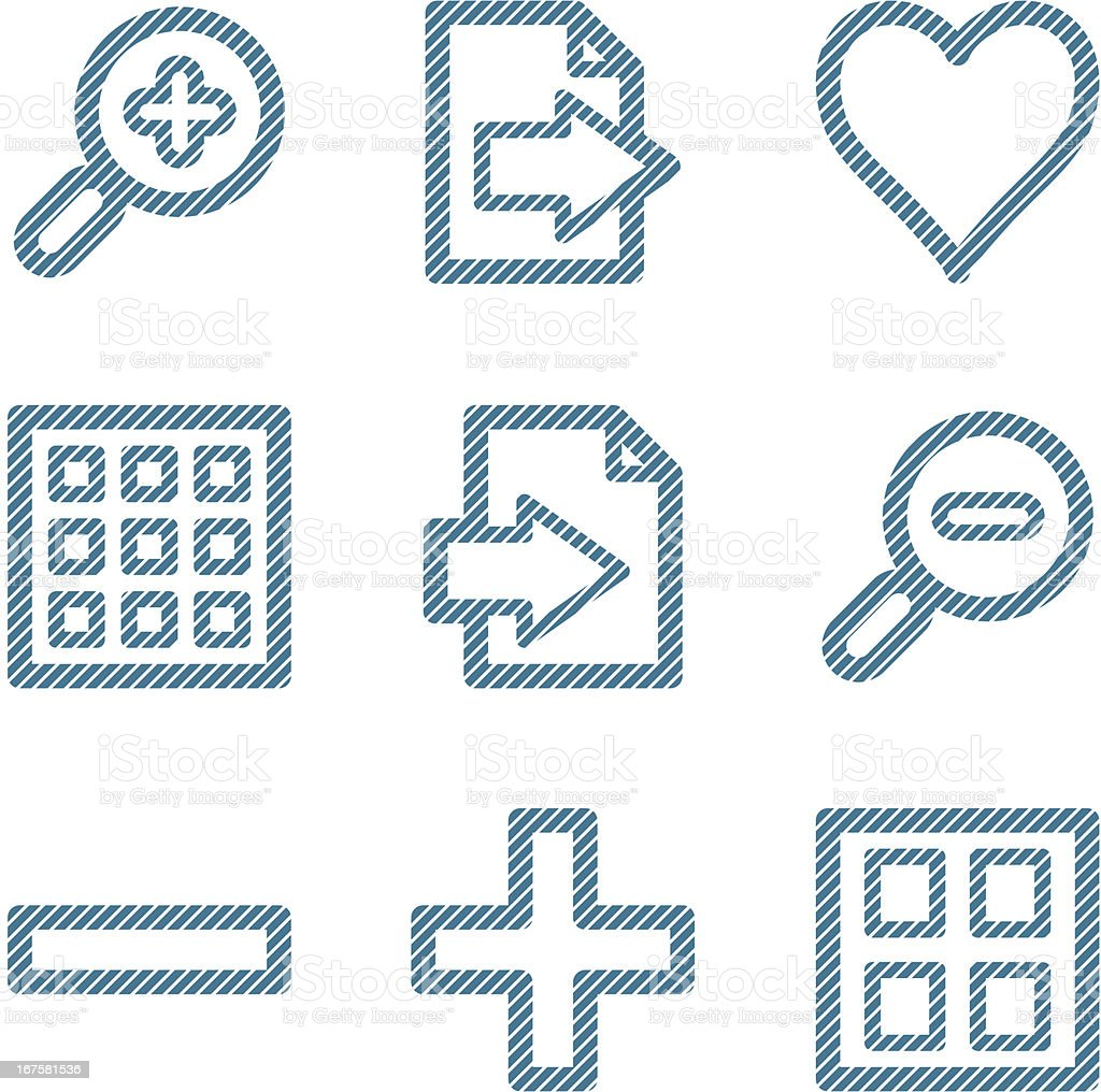 Blue line image viewer contour icons V2 royalty-free stock vector art