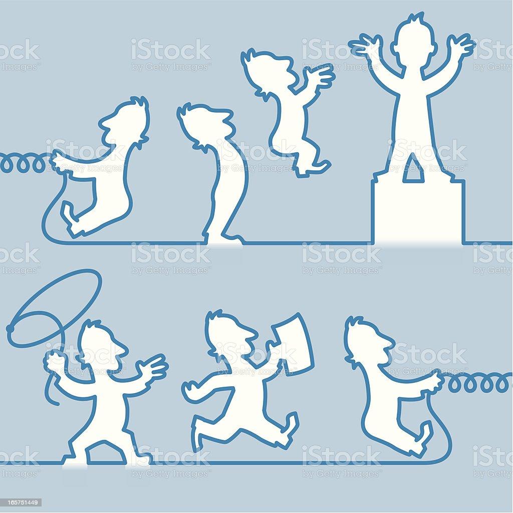 Blue Line man vector art illustration