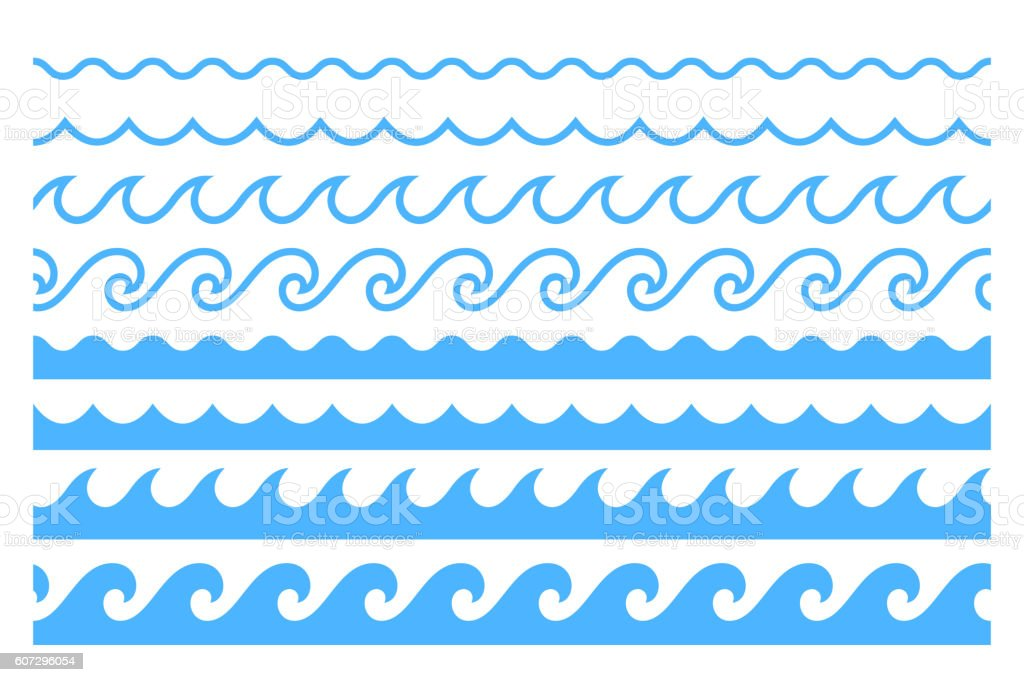 Blue line ocean wave ornament pattern vector art illustration