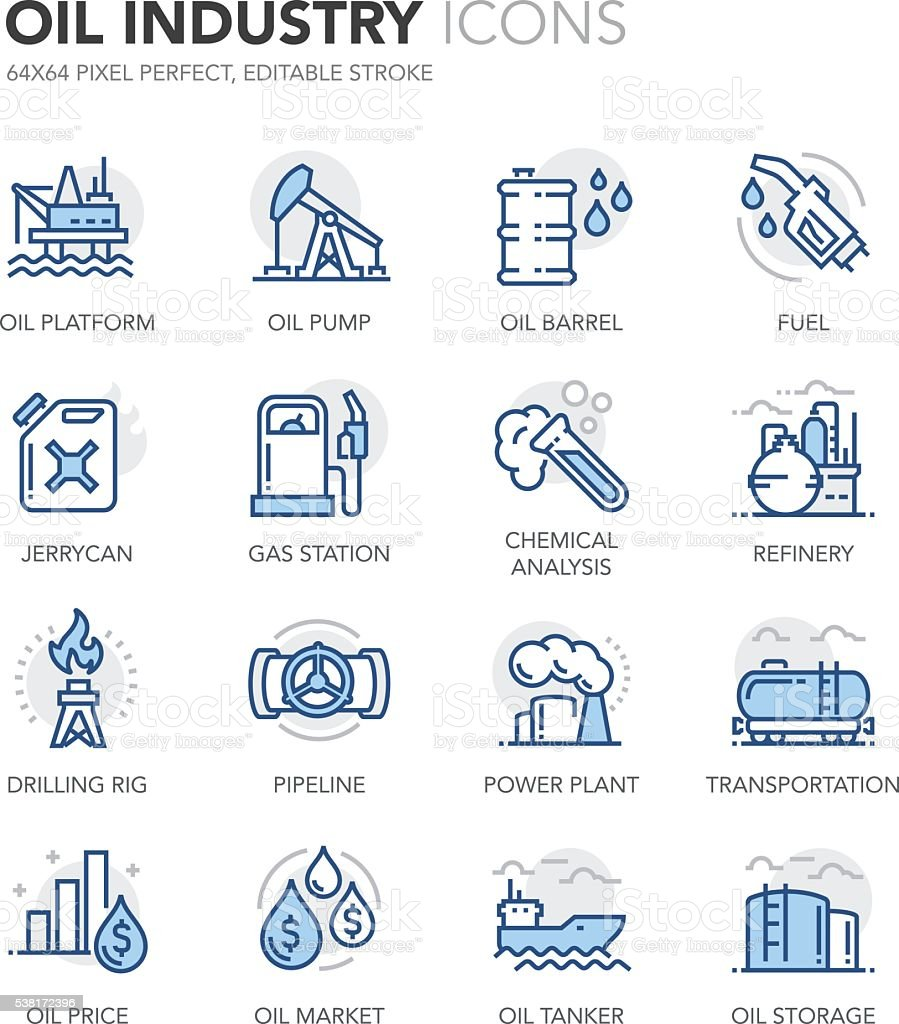 Blue Line Oil Industry Icons vector art illustration