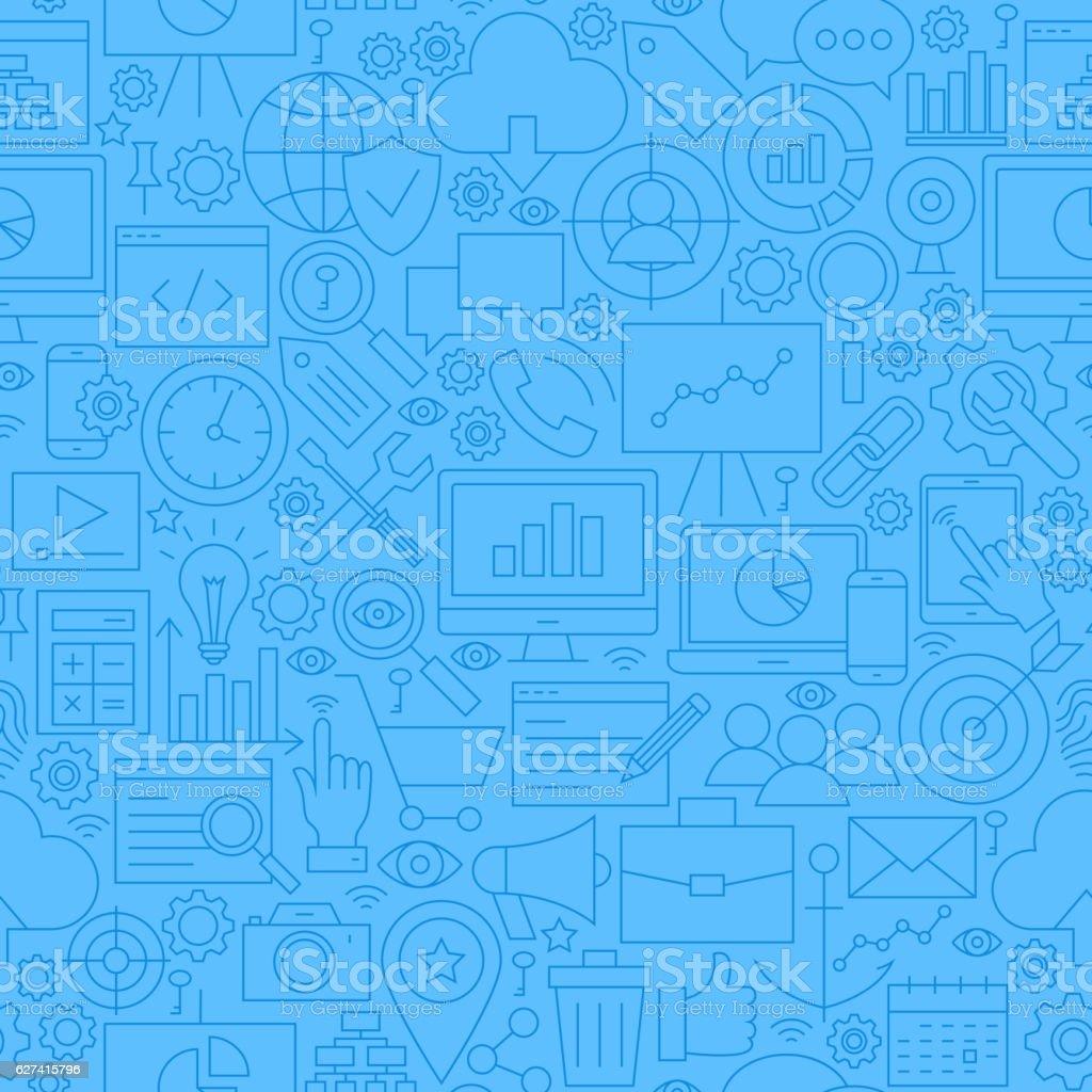 SEO Blue Line Seamless Pattern vector art illustration