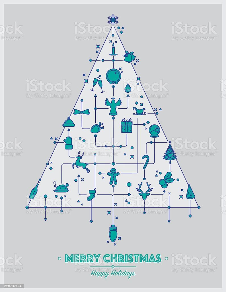 Blue lineart christmas tree with christmas icons vector art illustration