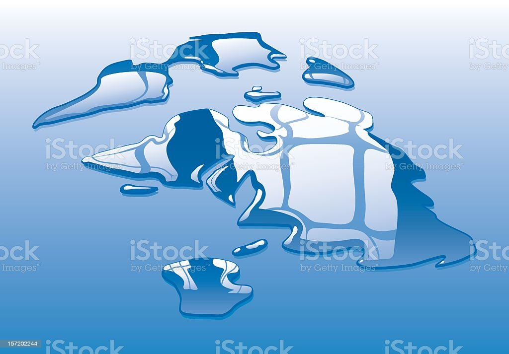 Blue liquid droplets forming a world map vector art illustration