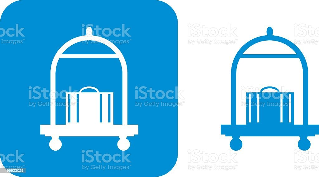 Blue Luggage Cart Icon vector art illustration
