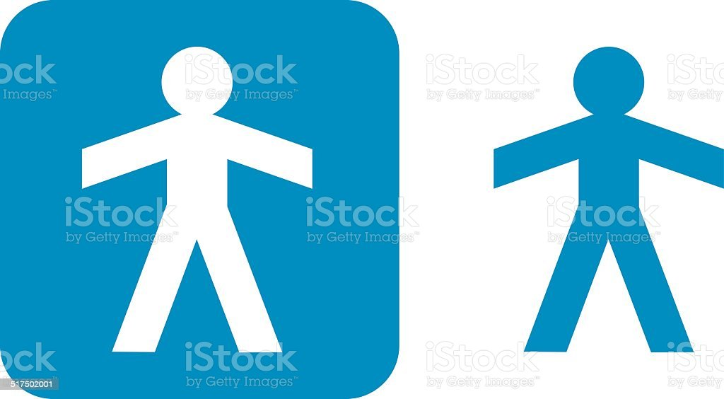 Blue Male Paper Dill Icons vector art illustration