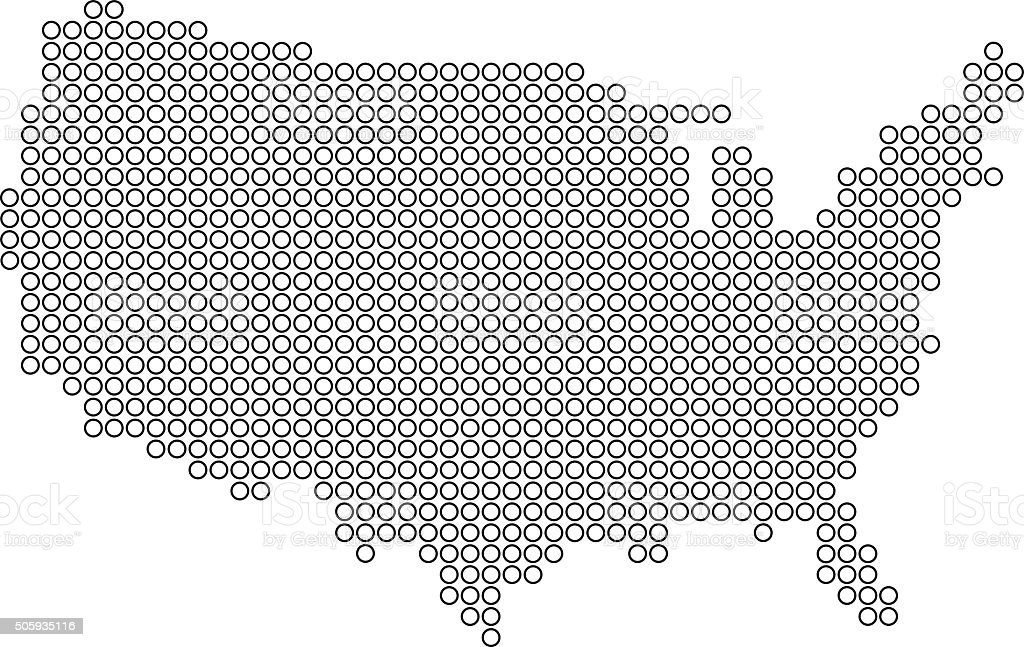 USA blue map made of dots on white background vector art illustration
