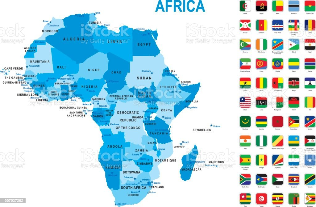 Blue map of Africa with flag against white background vector art illustration