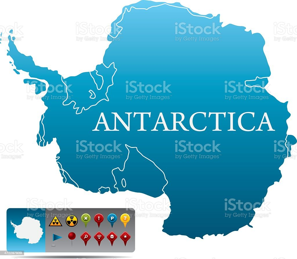 Blue map of Antarctica and box of colored navigational icons royalty-free stock vector art