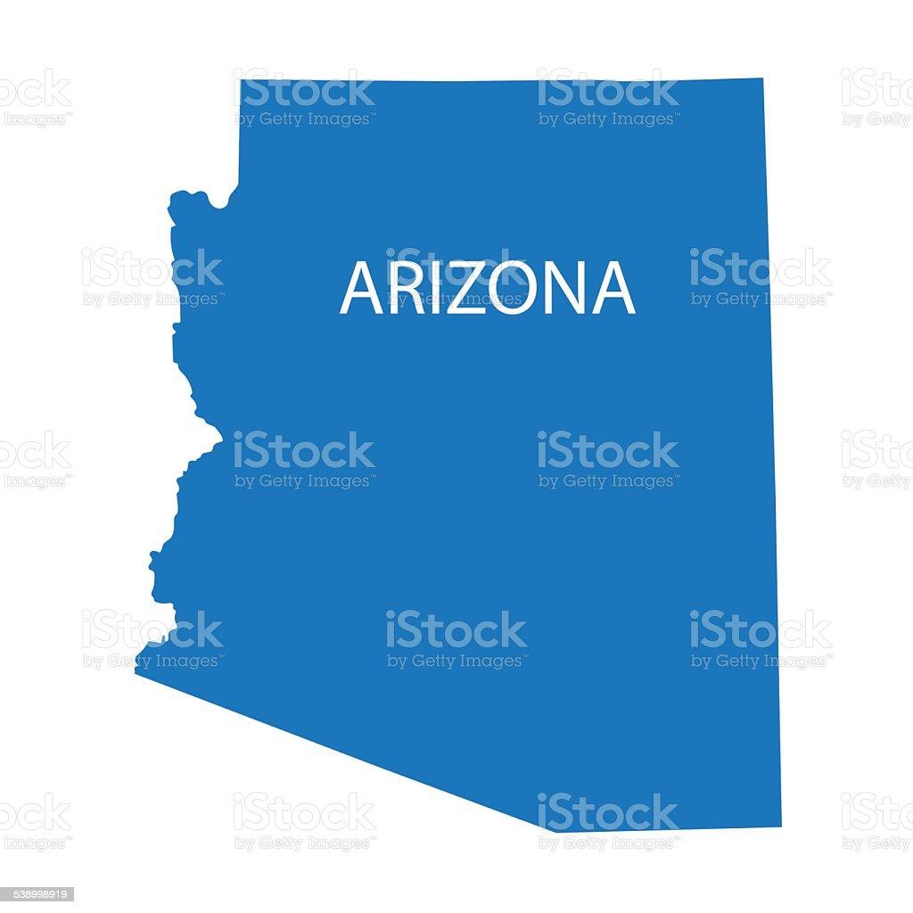 blue map of Arizona vector art illustration
