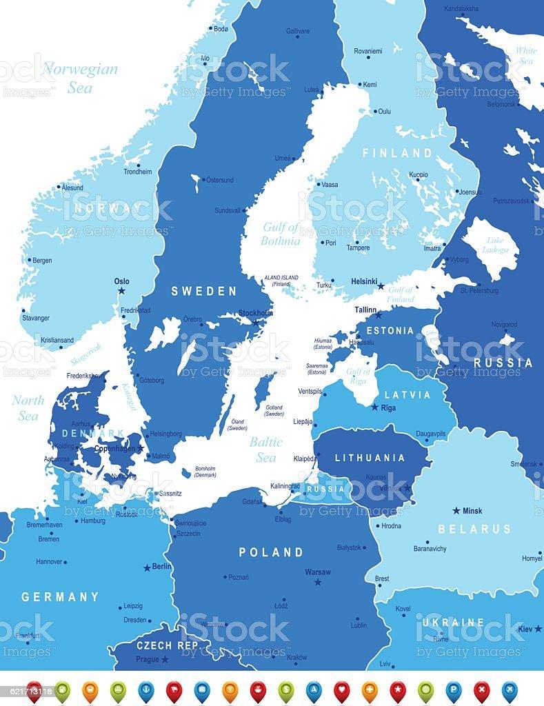 Blue Map of Baltic Sea Area vector art illustration
