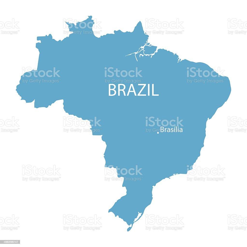 blue map of Brazil vector art illustration