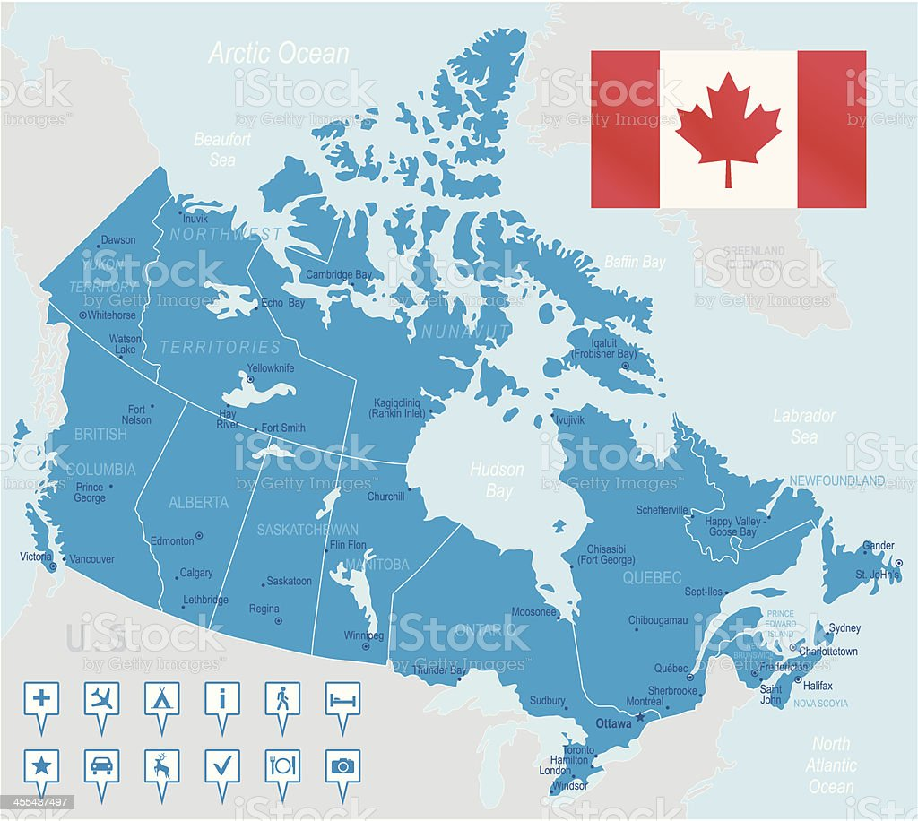 A blue map of Canada with the flag in the corner royalty-free stock vector art