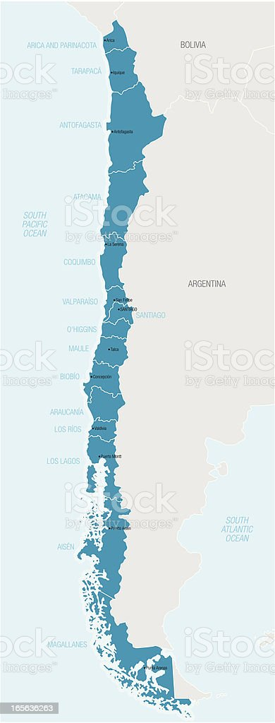 Blue map of Chile with names of different areas vector art illustration