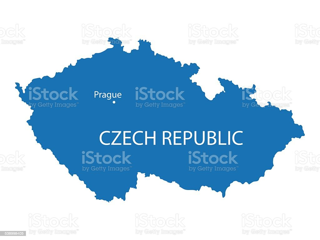 blue map of Czech Republic vector art illustration
