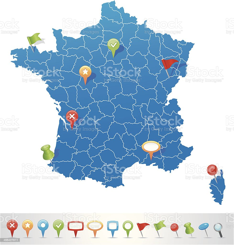 Blue map of departements of France with map navigation icons vector art illustration