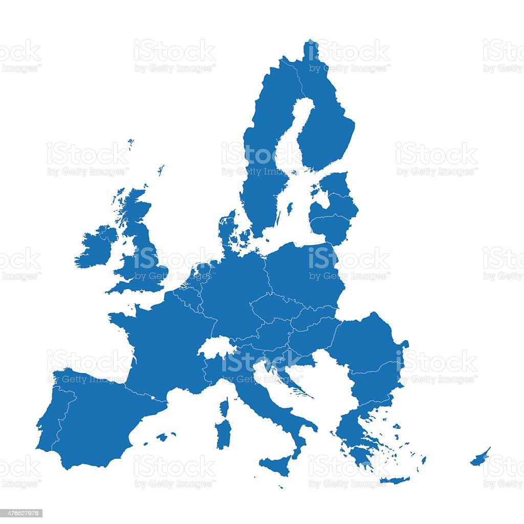 blue map of European Union vector art illustration
