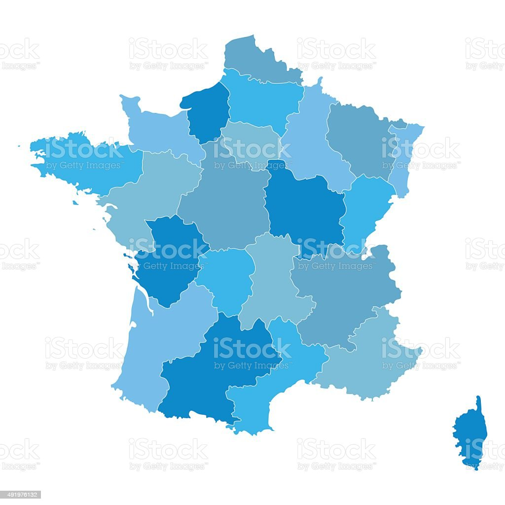 blue map of France vector art illustration