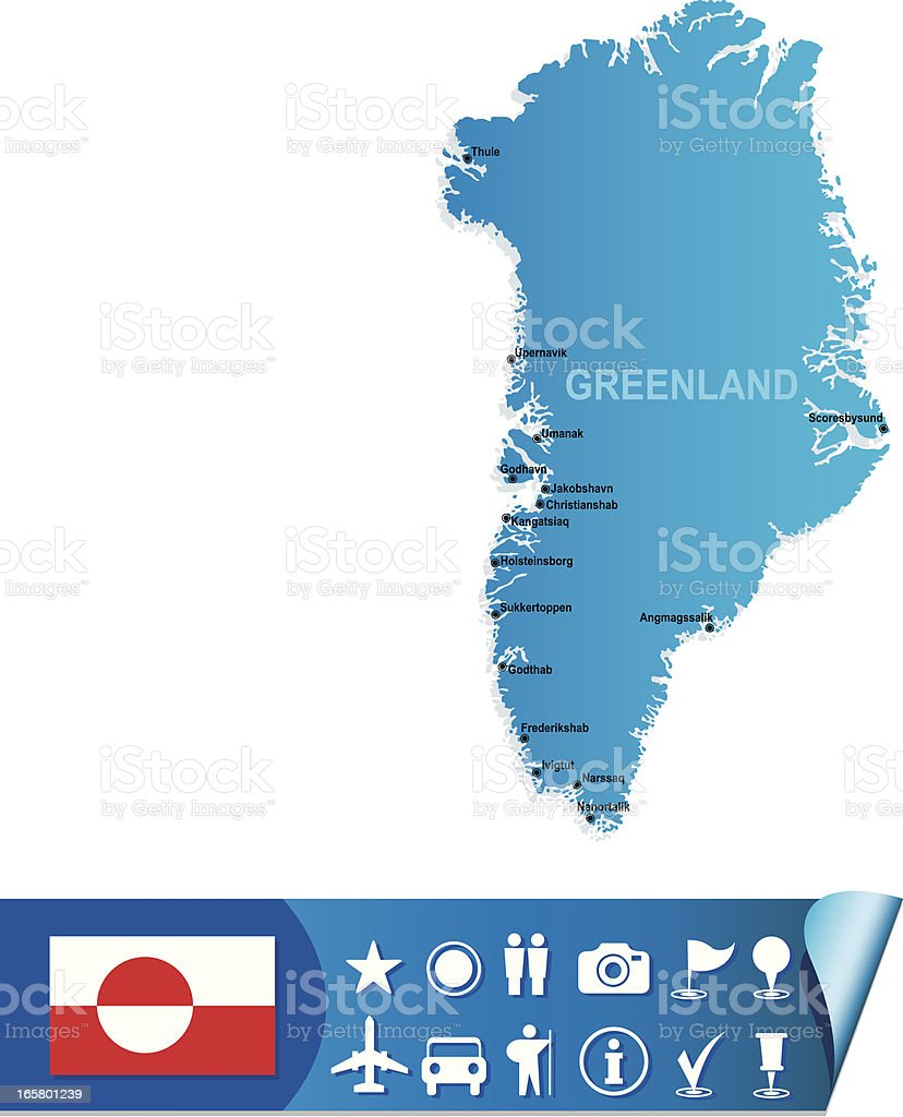 Blue map of Greenland with flag on white background vector art illustration