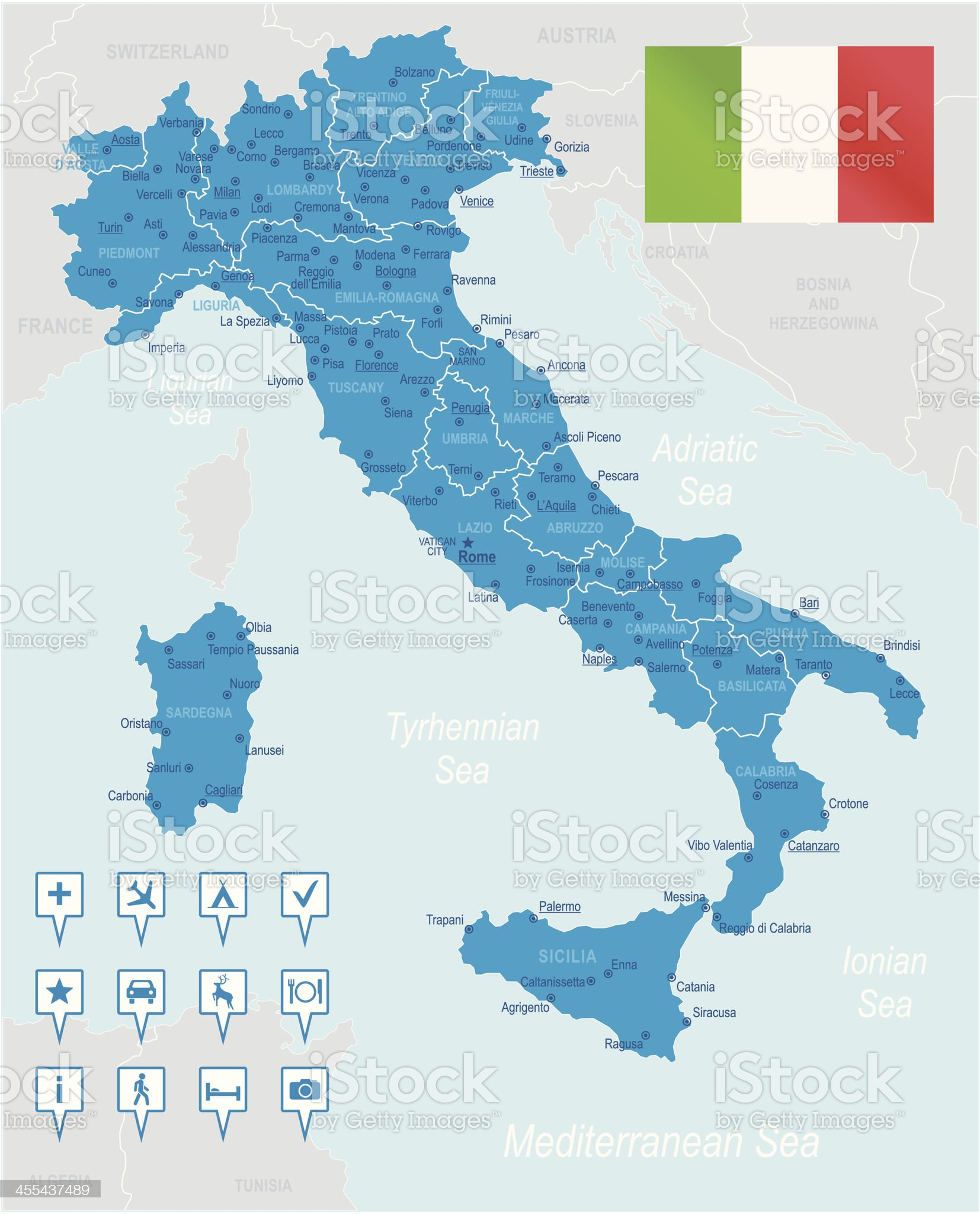 Blue map of Italy with subdivisions, icons and flag royalty-free stock vector art