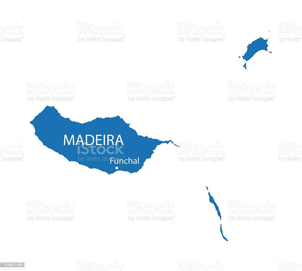 blue map of Madeira vector art illustration