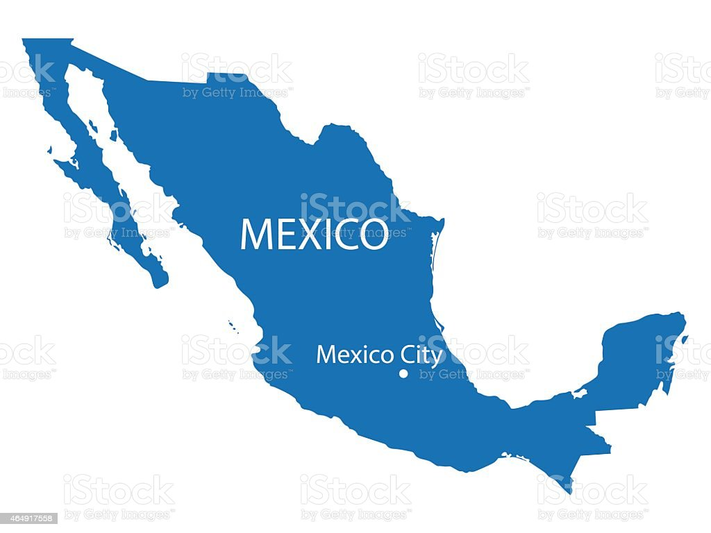blue map of Mexico vector art illustration