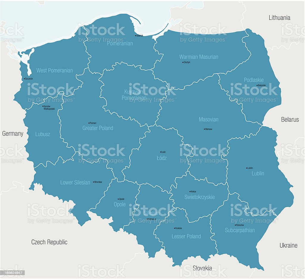 A blue map of Poland showing the regions vector art illustration