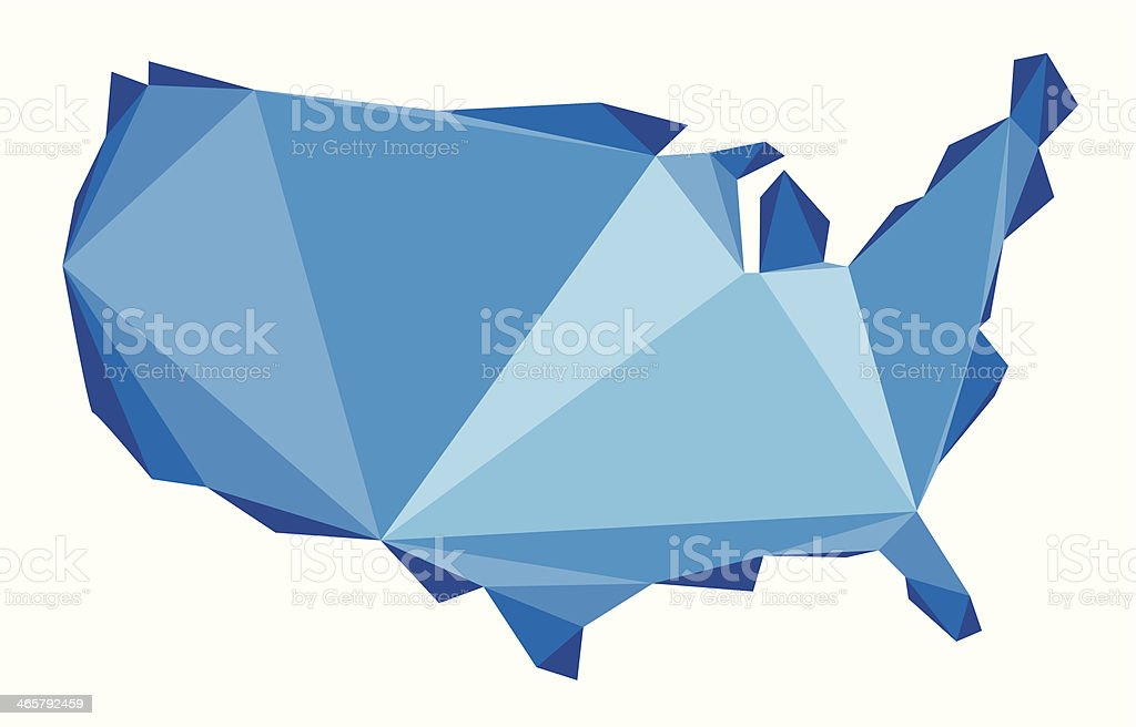 blue map of the USA in origami style royalty-free stock vector art