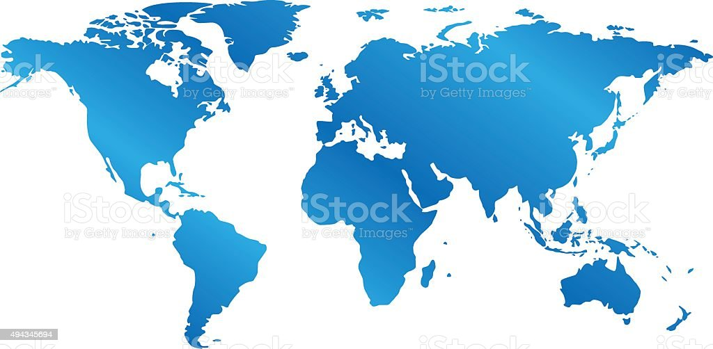 blue map of the world with gradient - vector vector art illustration