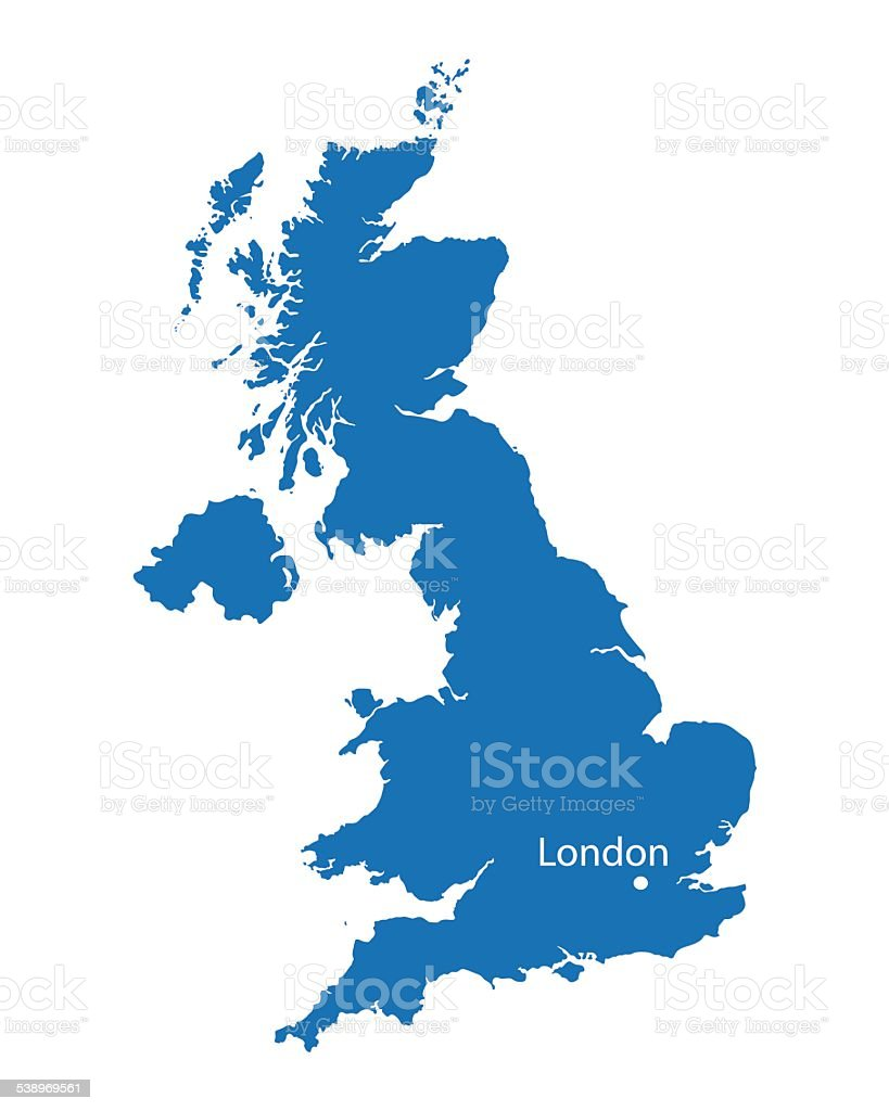 blue map of United Kingdom with the indication of London vector art illustration