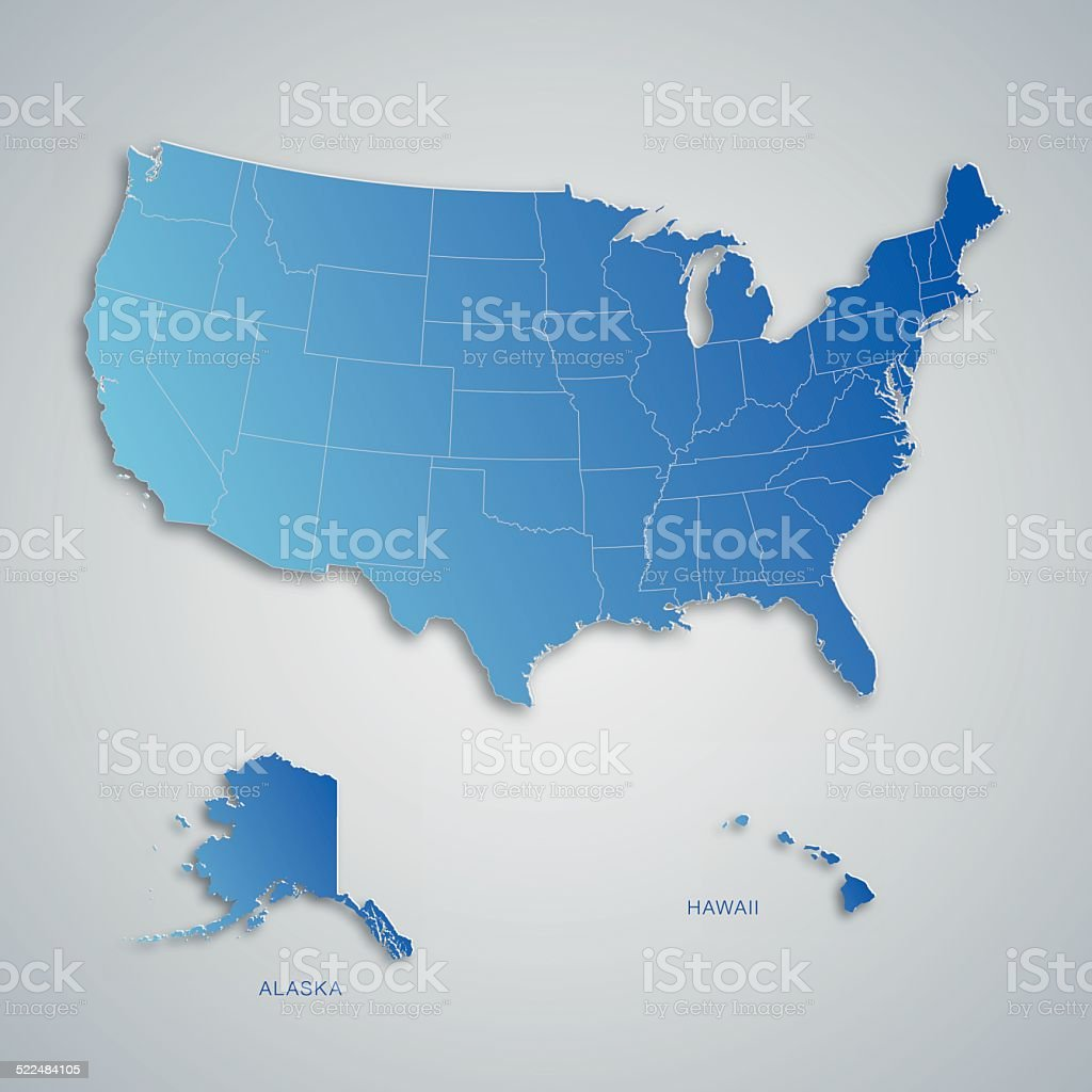 Blue map of USA with paper cut effect vector art illustration