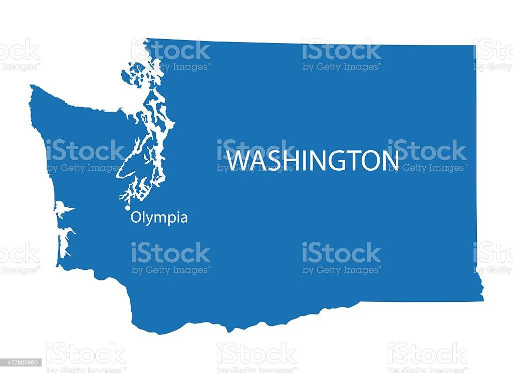 blue map of Washington vector art illustration