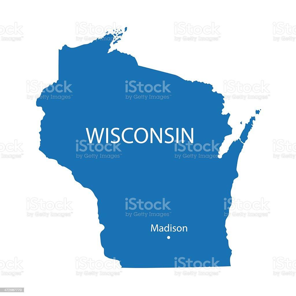blue map of Wisconsin vector art illustration