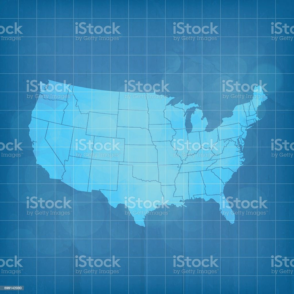 USA blue map transparent gradient on cardboard vector art illustration