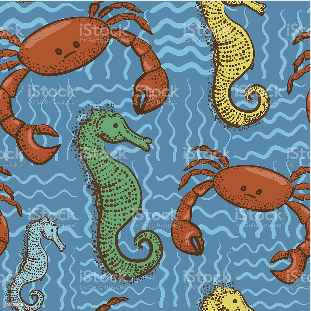blue marine seamless pattern with funny crabs and cute seahorses royalty-free stock vector art