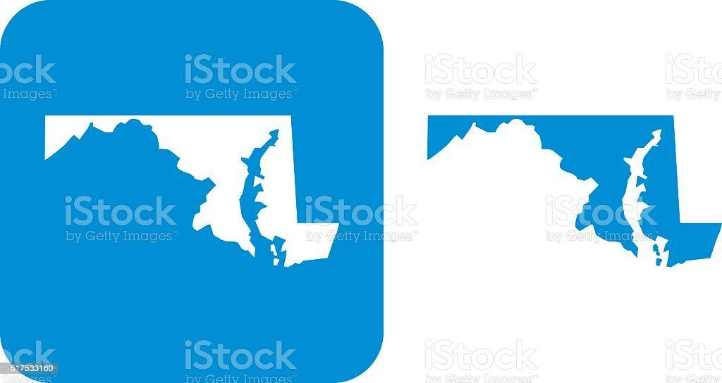 Blue Maryland Icon vector art illustration