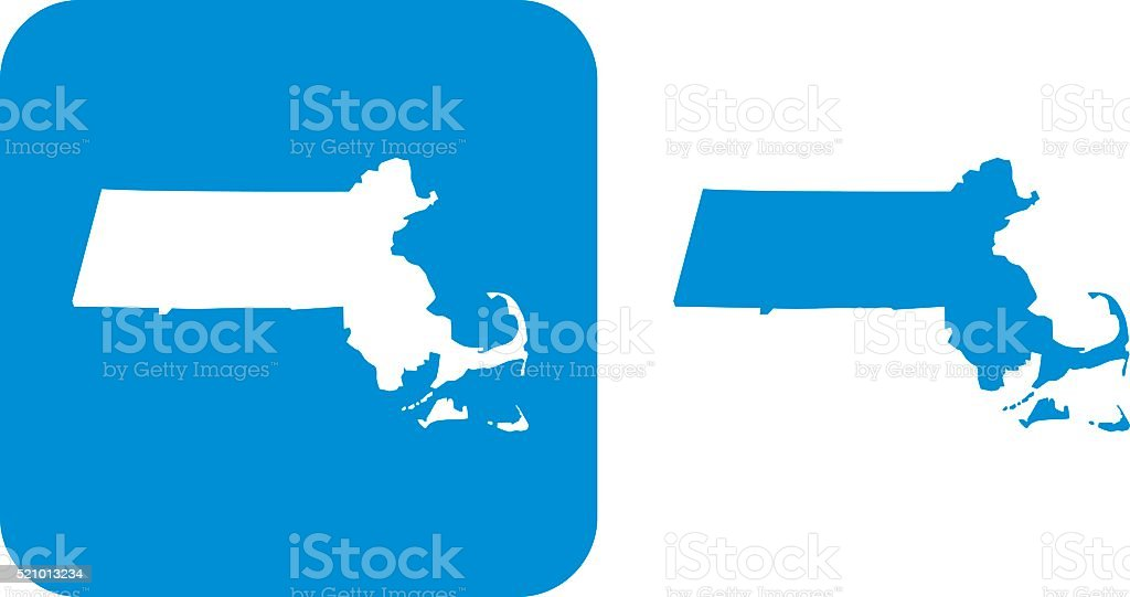 Blue Massachusetts Icons vector art illustration