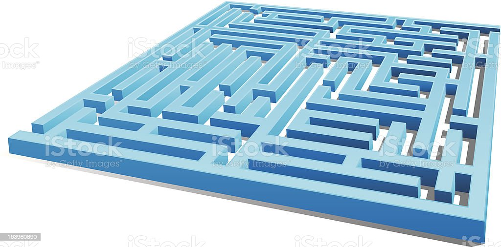 3D blue maze (with exit) royalty-free stock vector art