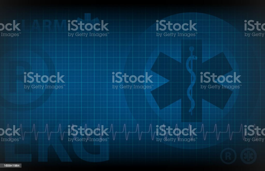 blue medical background - monitoring of heart rate illustration vector art illustration