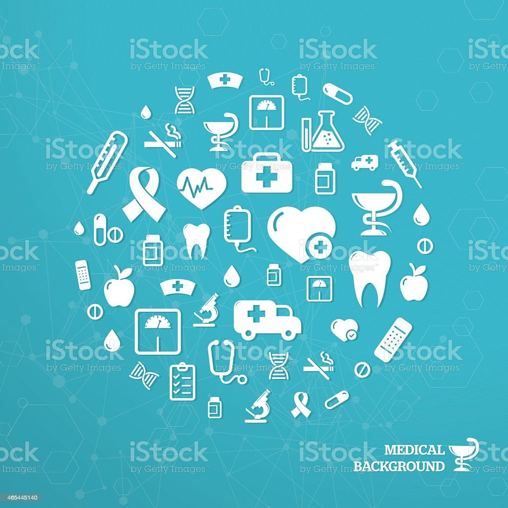 Blue medical circle background with text vector art illustration