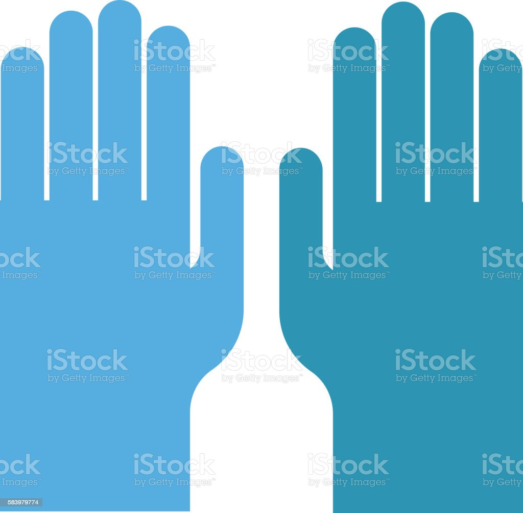 Blue medical gloves vector illustration. vector art illustration