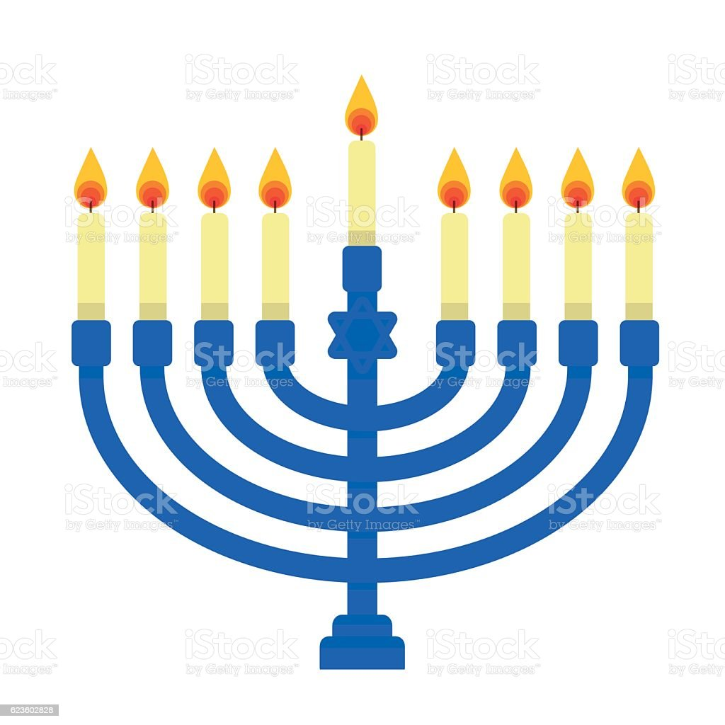 Blue Menorah vector art illustration