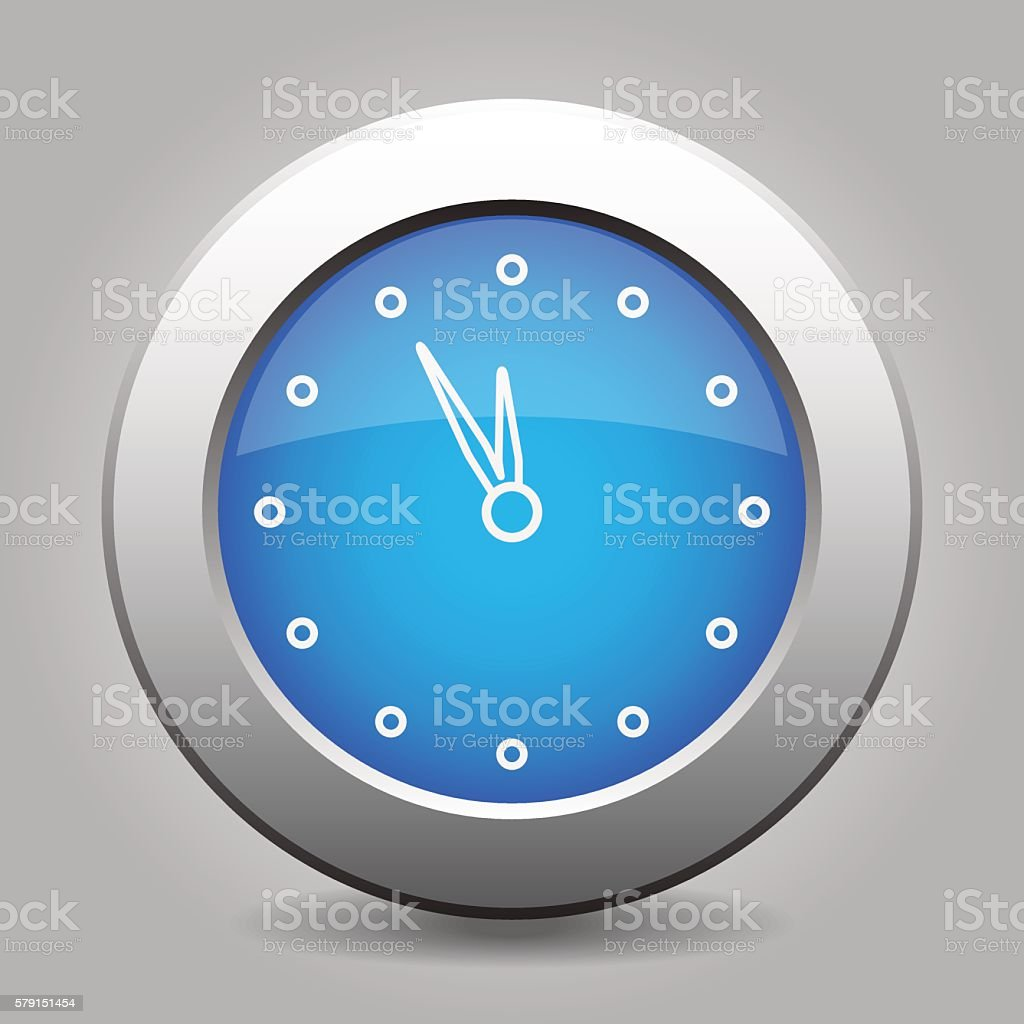 blue metal button with last minute clock vector art illustration